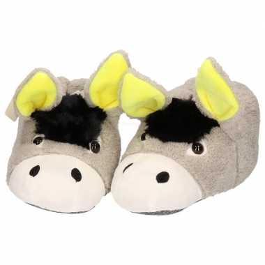 Dieren sloffen/pantoffels donkey/ezel meiden/dames maat /