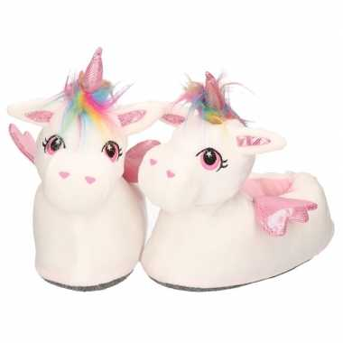 Dieren sloffen/pantoffels eenhoorn wit/roze dames