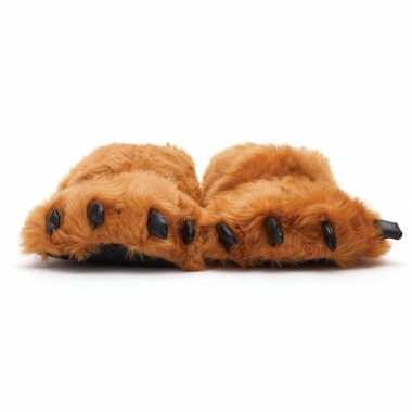 Dierenpoot pantoffels/sloffen beer volwassenen bruin /