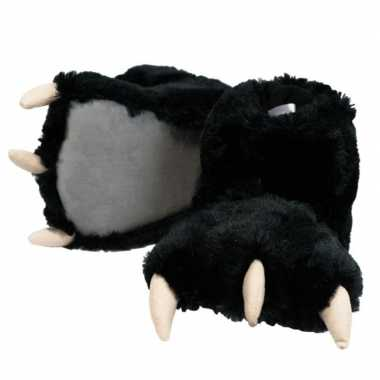 Dierenpoot pantoffels zwarte beer dames