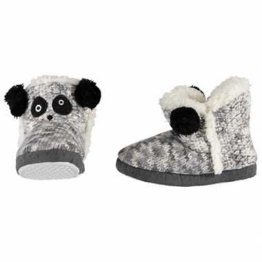Grijs/zwart/witte sloffen/pantoffels panda meisjes