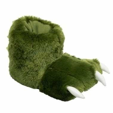 Groene monsterpoten pantoffels kinderen