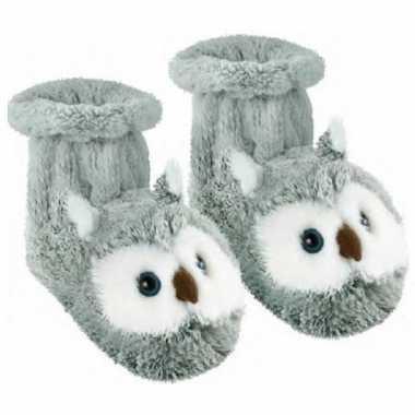 Pantoffel sokken grijze uil