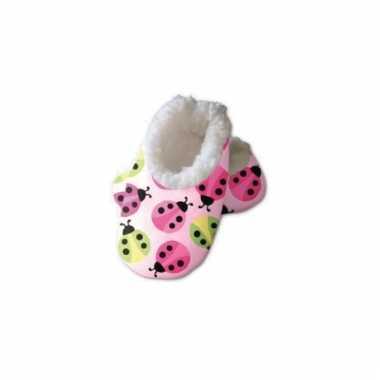 Roze baby sloffen lieveheersbeestjes
