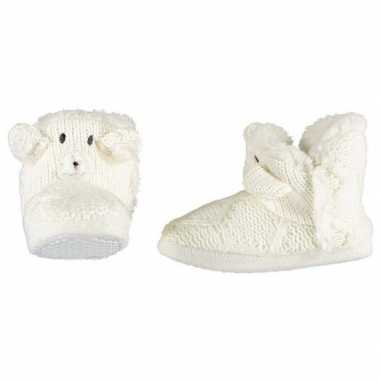 Witte sloffen/pantoffels ijsbeertje meisjes